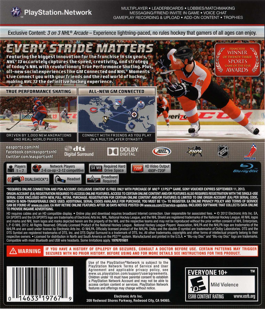 NHL 13 PS3 backHQ (BLUS31003)