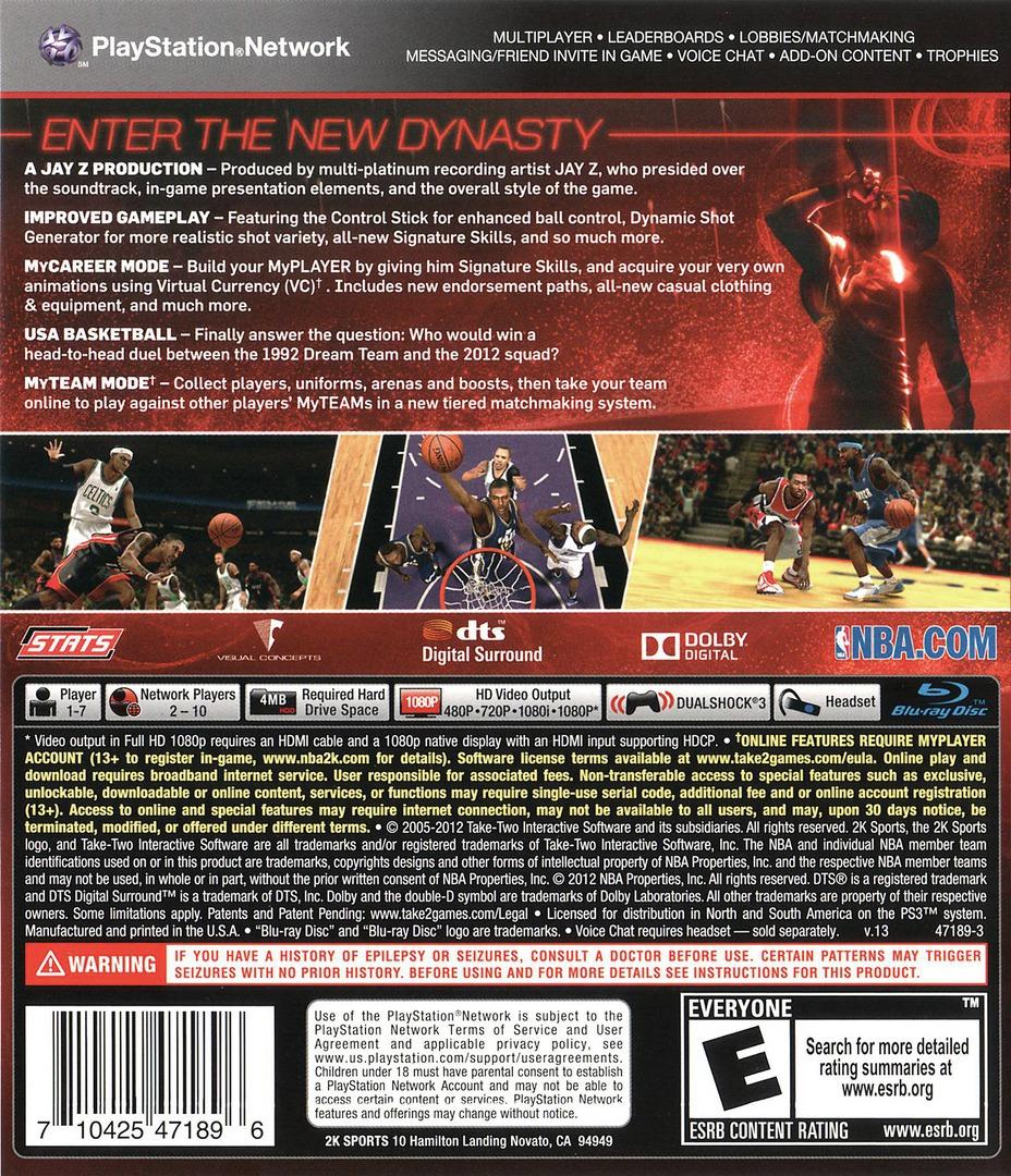 NBA 2K13 PS3 backHQ (BLUS31028)