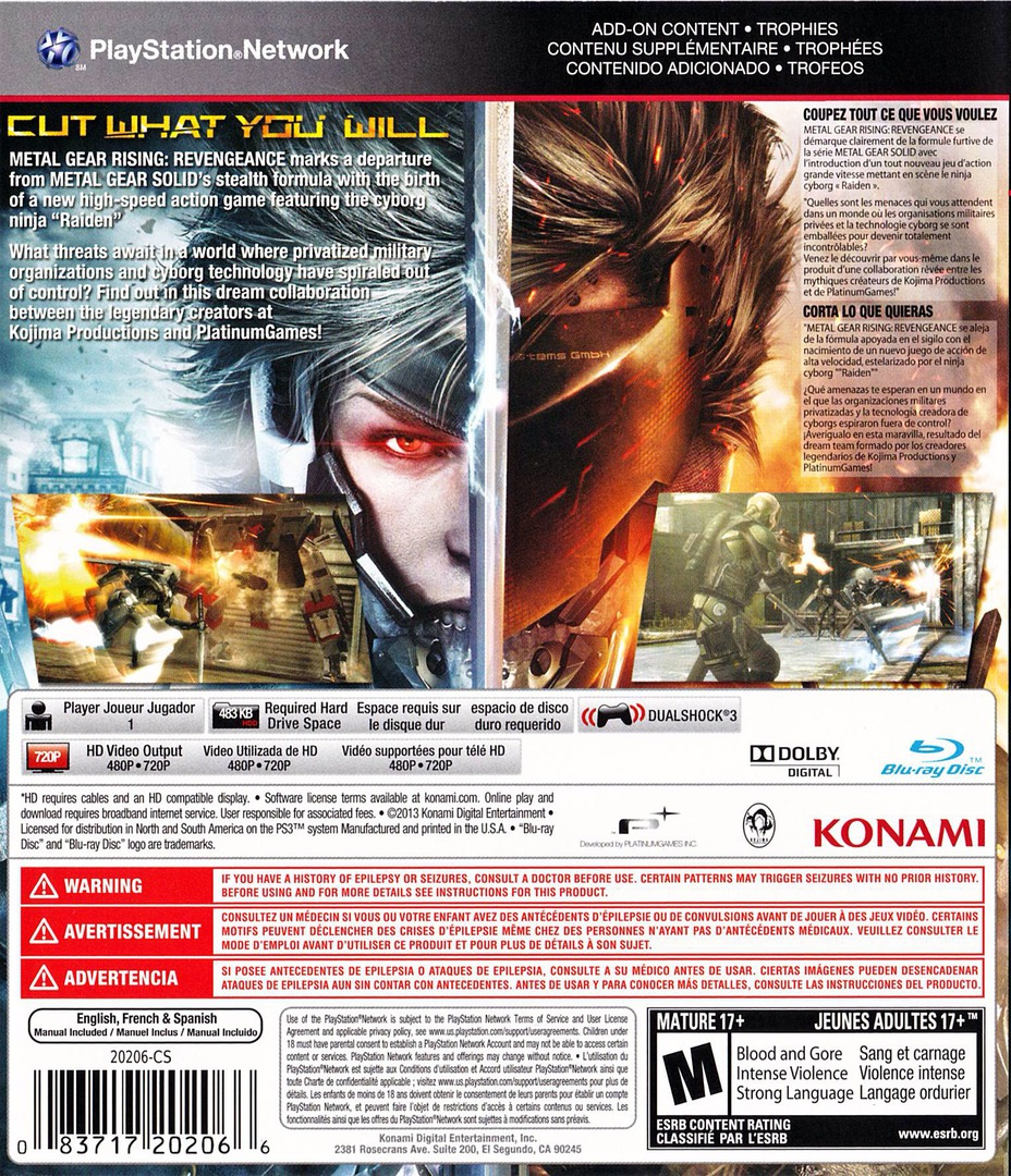Metal Gear Rising: Revengence PS3 backHQ (BLUS31045)