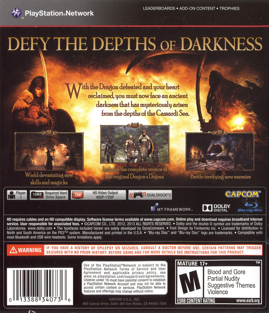 Dragon's Dogma: Dark Arisen PS3 backHQ (BLUS31155)