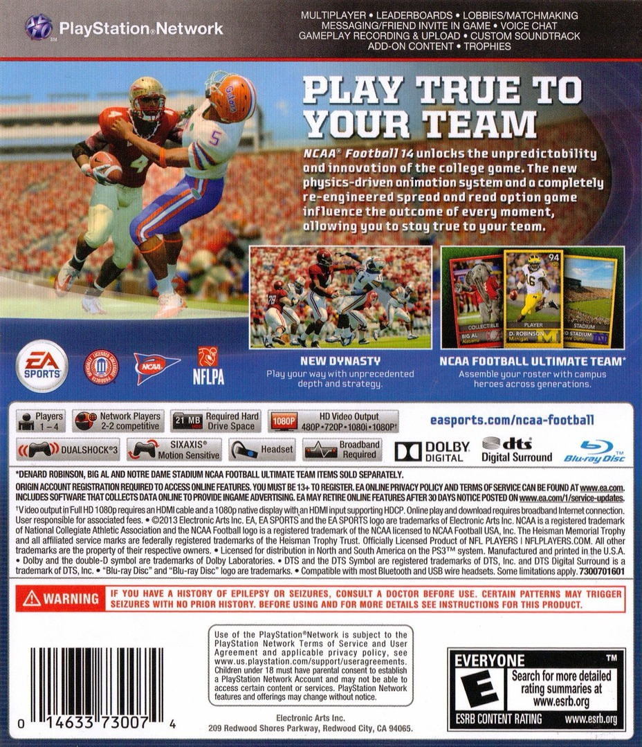 NCAA Football 14 PS3 backHQ (BLUS31159)
