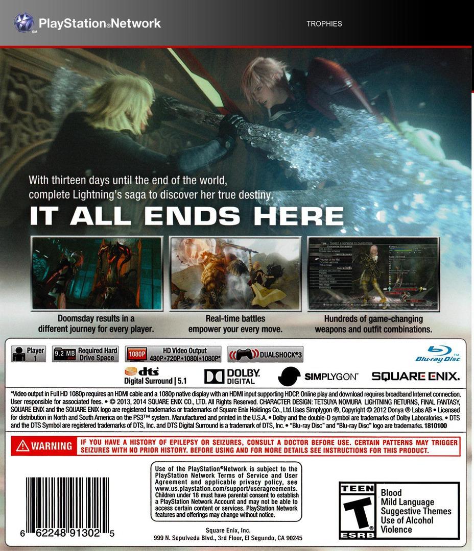 Lightning Returns: Final Fantasy XIII PS3 backHQ (BLUS31164)