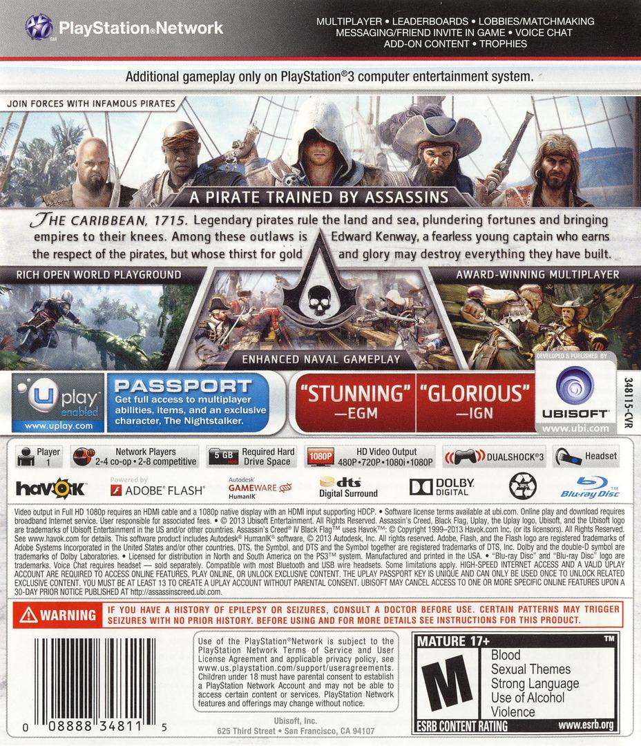 Assassin's Creed IV: Black Flag PS3 backHQ (BLUS31193)