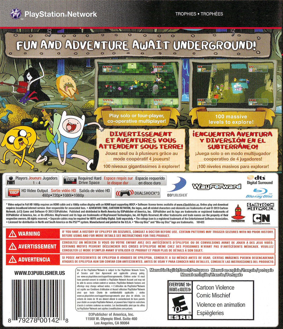 Adventure Time: Explore the Dungeon Because I DON'T KNOW! PS3 backHQ (BLUS31214)