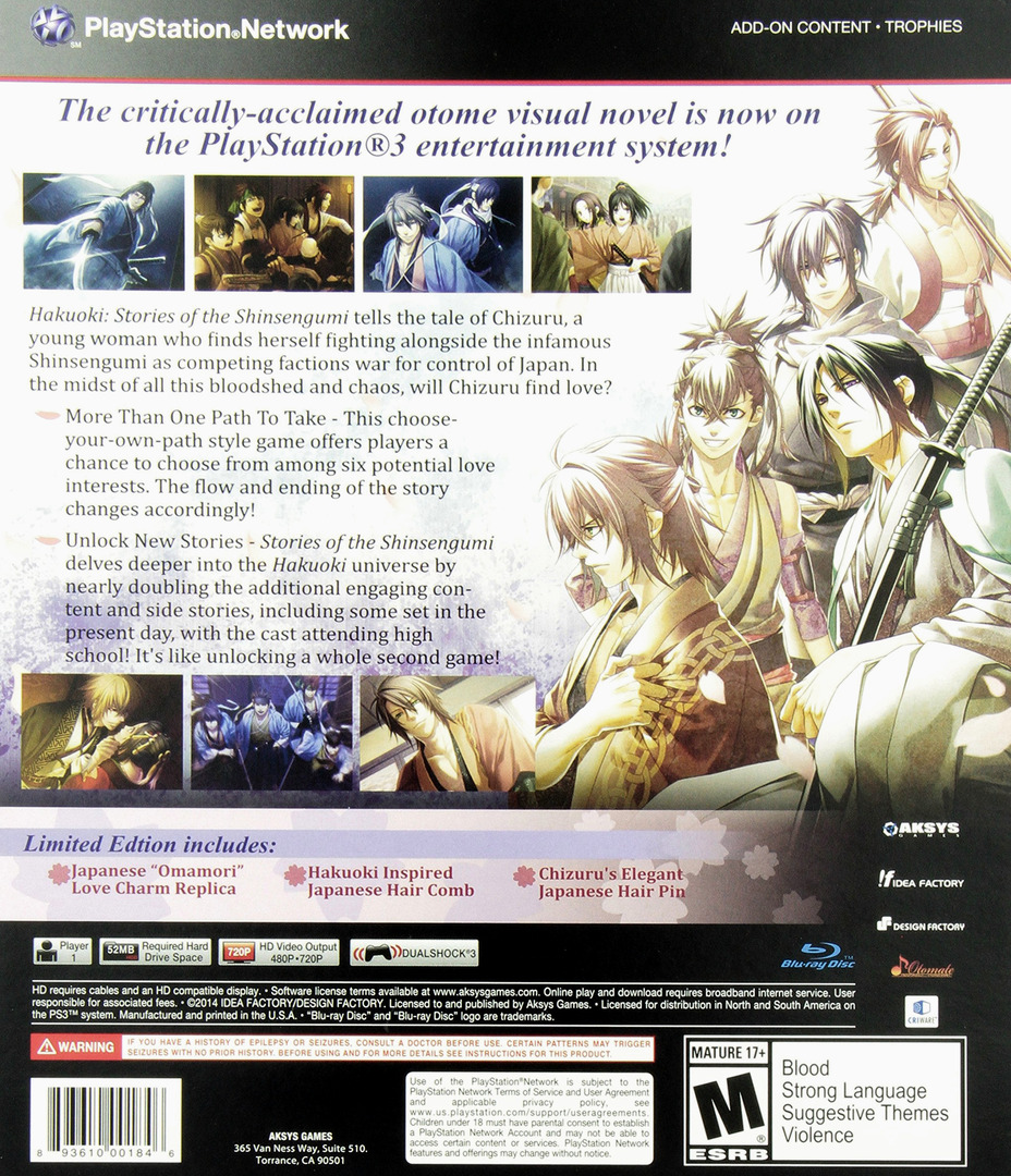 Hakuoki: Stories of the Shinsengumi (Limited Edition) PS3 backHQ (BLUS31422)
