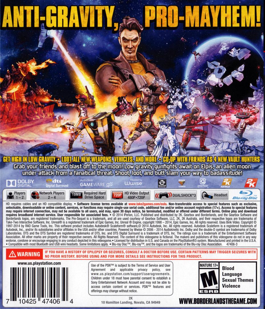 Borderlands: The Pre-Sequel PS3 backHQ (BLUS31445)