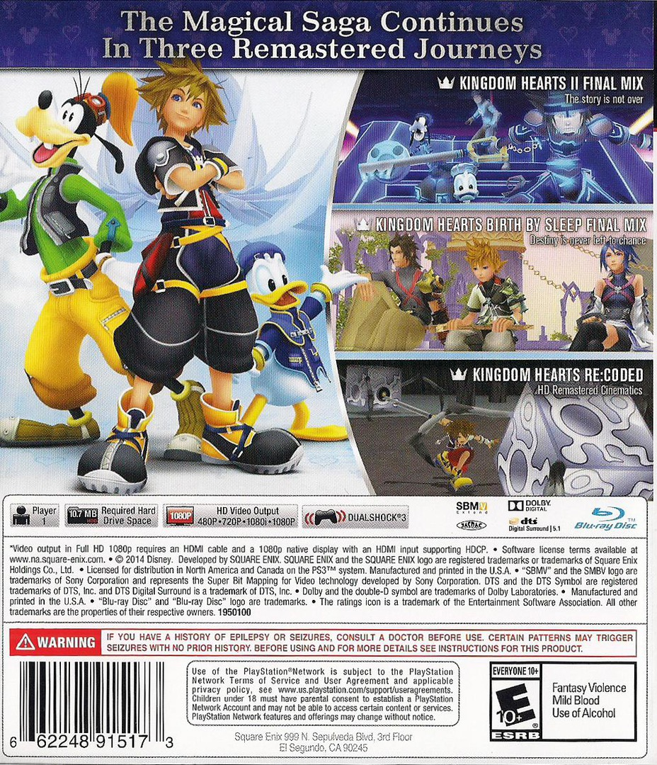 Kingdom Hearts 2.5 HD ReMIX PS3 backHQ (BLUS31460)