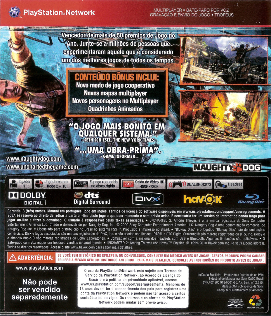 Uncharted 2: Among Thieves (Game of the Year Edition) (Greatest Hits) PS3 backHQ (BCUS90641)