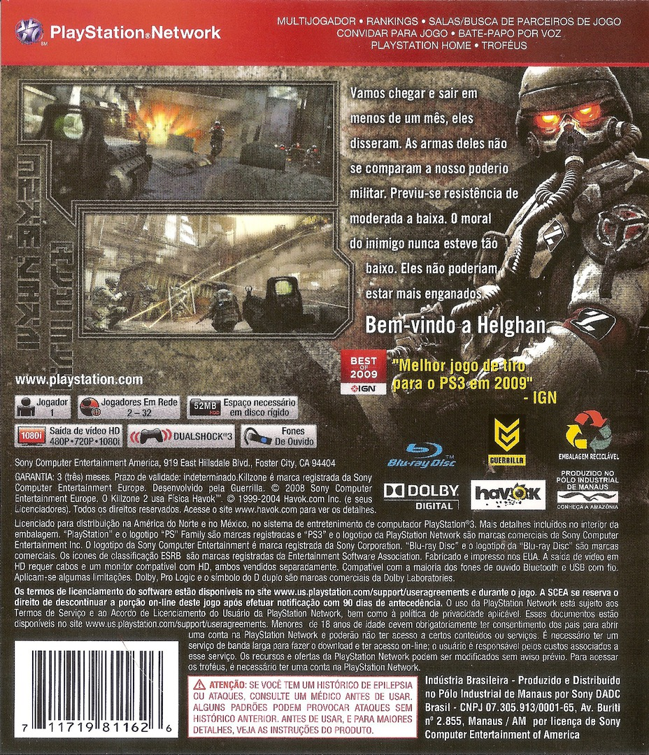 Killzone 2 PS3 backHQ (BCUS98116)