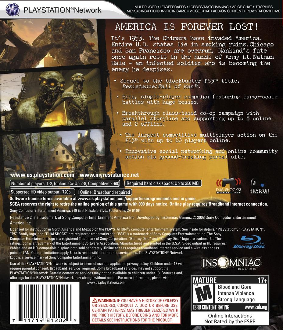 Resistance 2 PS3 backHQ2 (BCUS98120)