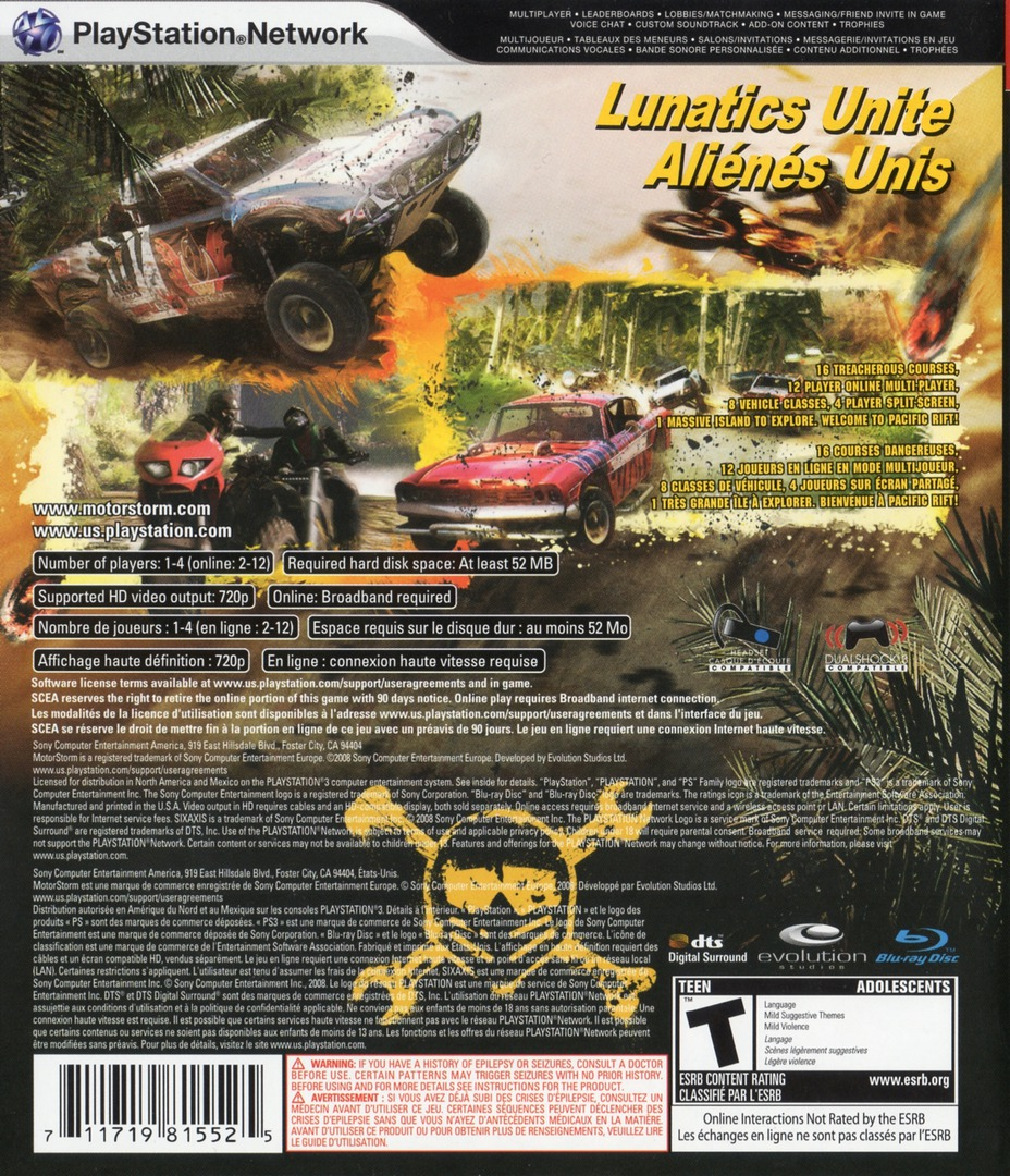 MotorStorm: Pacific Rift PS3 backHQ2 (BCUS98155)