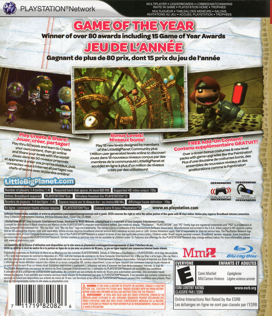 LittleBigPlanet (Game of the Year Edition) Array backHQ2 (BCUS98208)