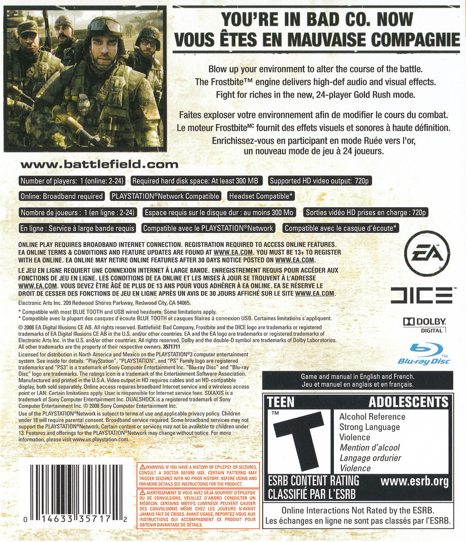 Battlefield: Bad Company PS3 backHQ2 (BLUS30118)