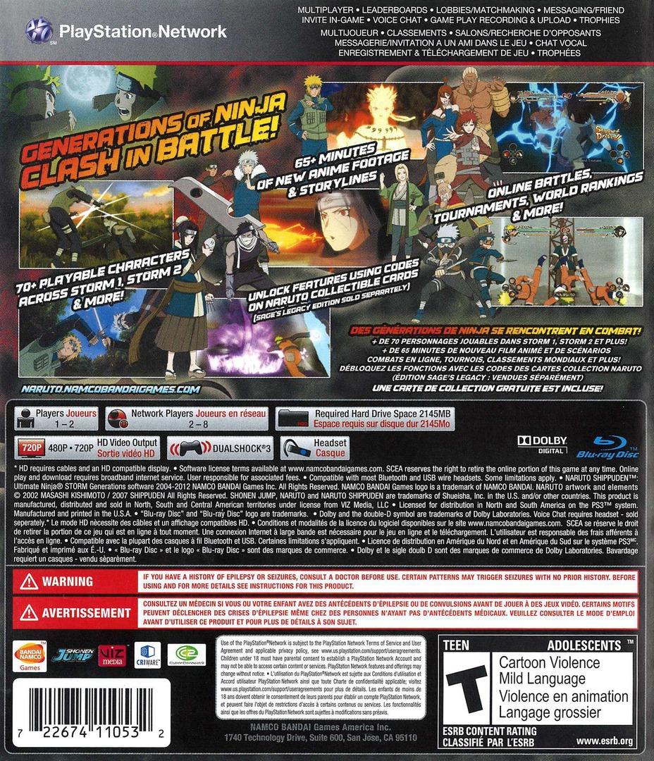 Naruto Shippuden:Ultimate Ninja Storm Generations PS3 backHQ2 (BLUS30792)