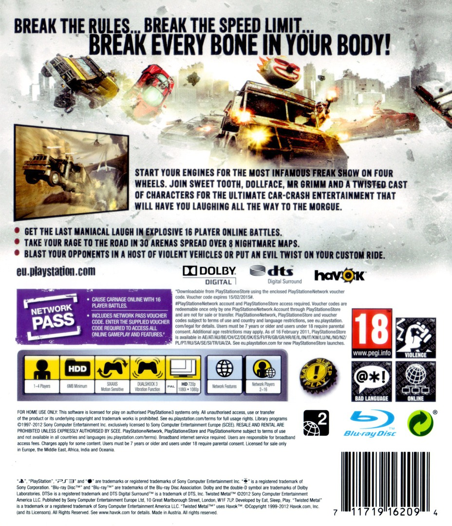 Twisted Metal PS3 backHQB (BCES01010)