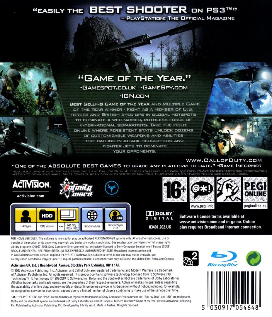 Call of Duty 4: Modern Warfare PS3 backHQB (BLES00148)