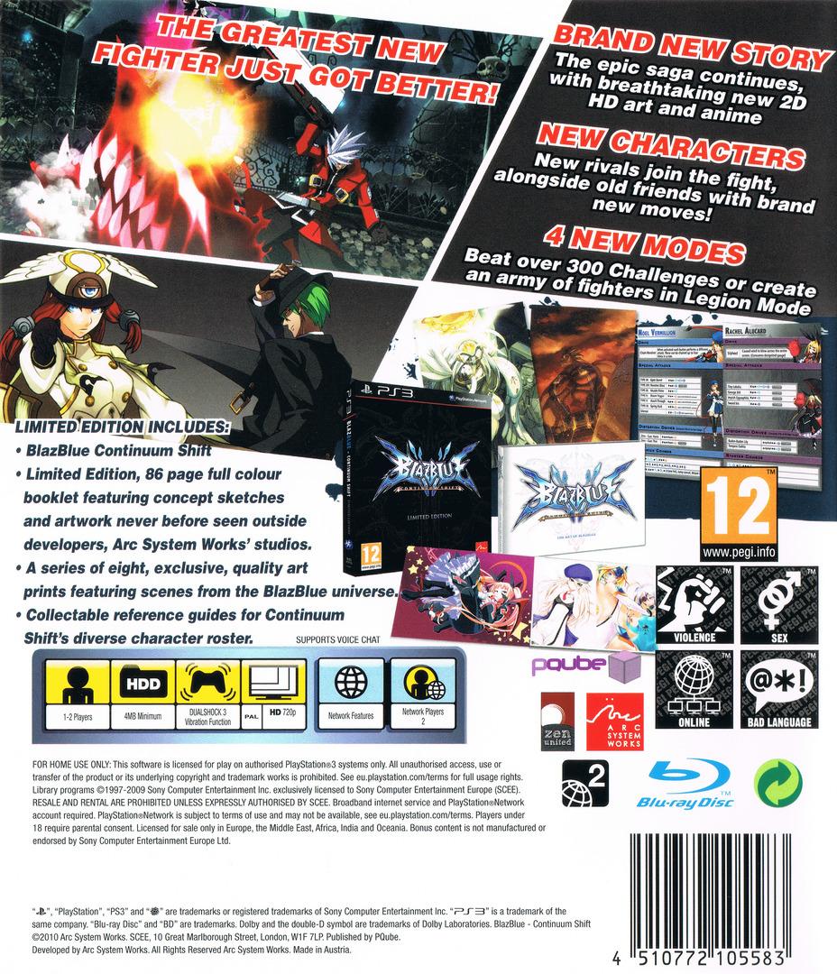 BlazBlue:Continuum Shift PS3 backHQB (BLES01119)