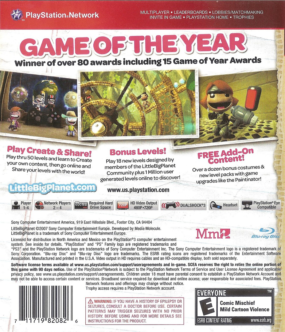 LittleBigPlanet (Game of the Year Edition) Array backHQB (BCUS98208)