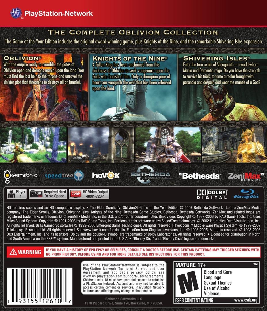 The Elder Scrolls IV: Oblivion PS3 backHQB (BLUS30007)