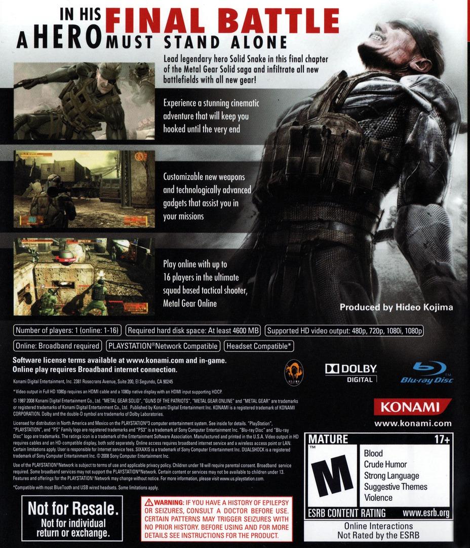 Metal Gear Solid 4: Guns of the Patriots PS3 backHQB (BLUS30109)