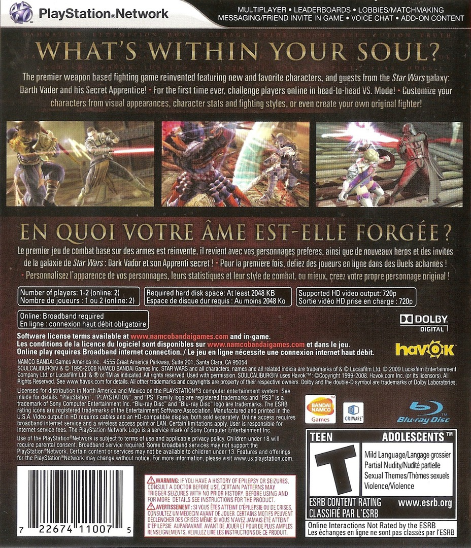 Soul Calibur IV PS3 backHQB (BLUS30160)