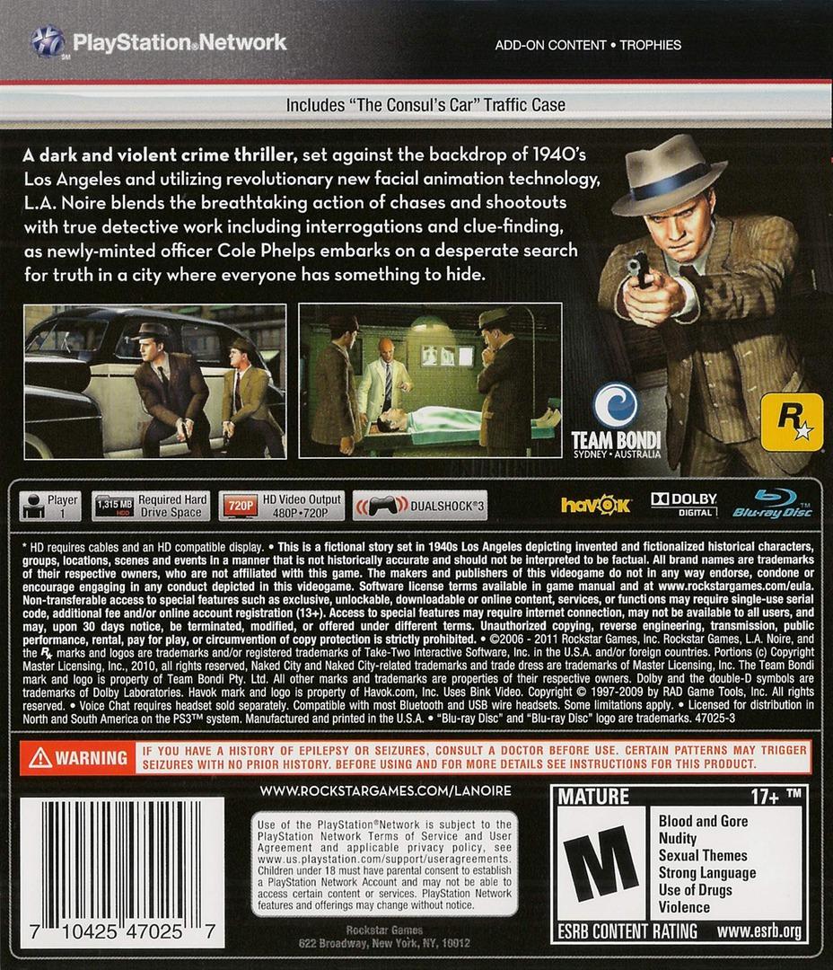 L.A. Noire PS3 backHQB (BLUS30554)