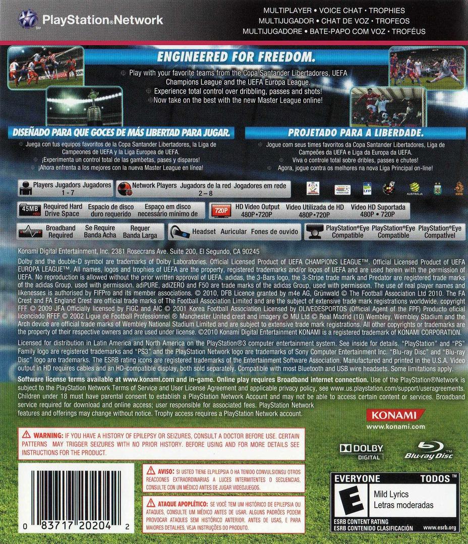 Pro Evolution Soccer 2011 PS3 backHQB (BLUS30610)