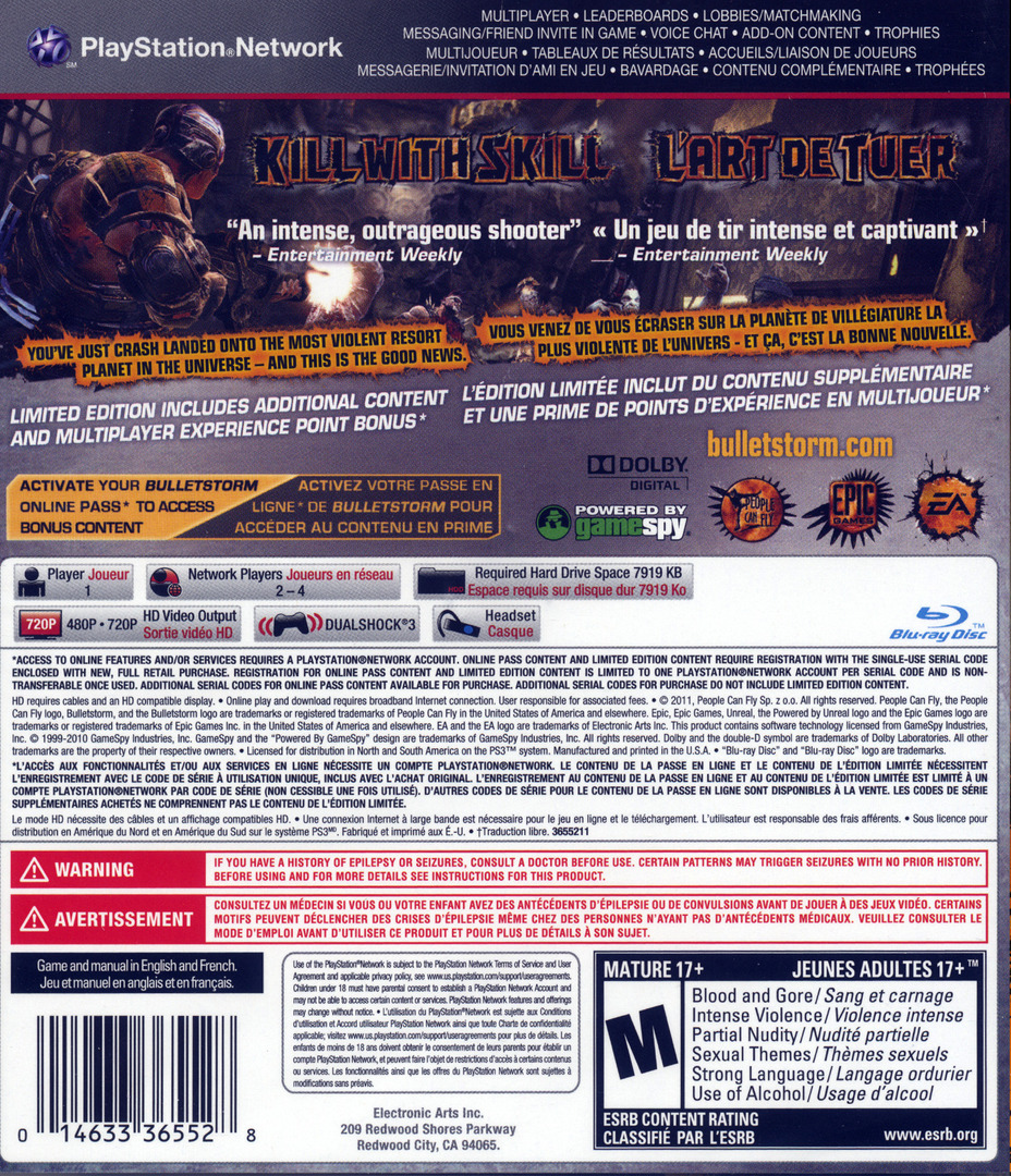 Bulletstorm PS3 backHQB (BLUS30651)