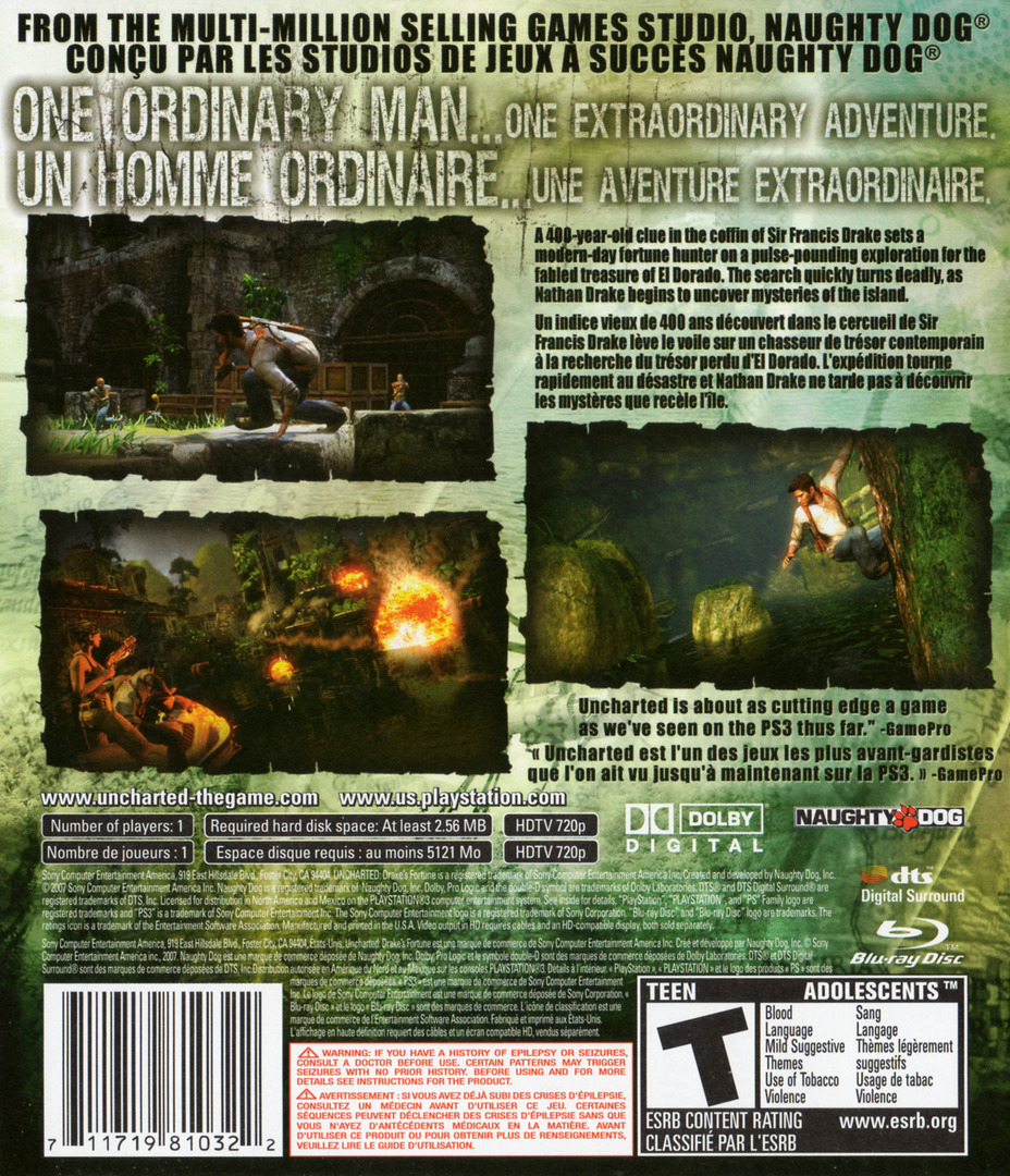 Uncharted: Drake's Fortune PS3 backHQB2 (BCUS98103)