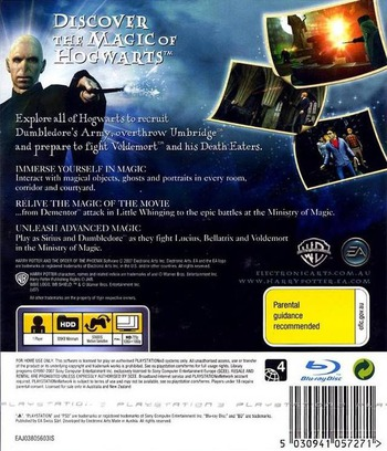 Harry Potter and the Order of the Phoenix PS3 backM (BLES00070)