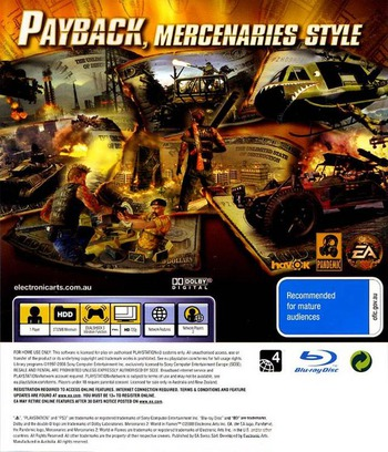 Mercenaries 2: World in Flames PS3 backM (BLES00323)