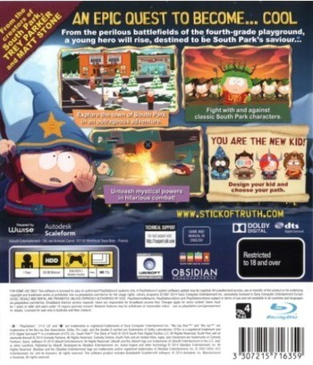 South Park: The Stick of Truth PS3 backM (BLES01731)