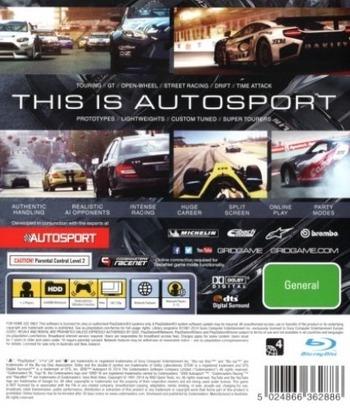 GRID Autosport PS3 backM (BLES02038)