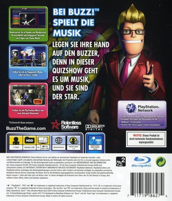 Buzz! Das Ultimative Musik Quiz PS3 backM (BCES00828)