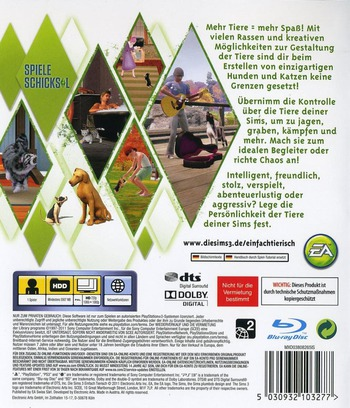 The Sims 3: Einfach Tierisch PS3 backM (BLES01368)