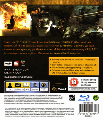 F.E.A.R.: First Encounter Assault Recon PS3 backM (BLES00035)