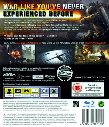 Call of Duty: World at War PS3 backM (BLES00354)