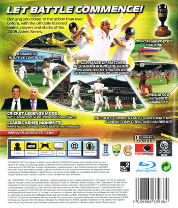 Ashes Cricket 2009 PS3 backM (BLES00639)