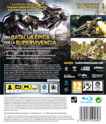 Transformers: La Caída de Cybertron PS3 backM (BLES01153)