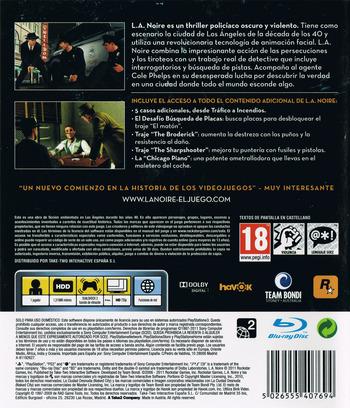 L.A. Noire: La Edición Completa PS3 backM (BLES01488)