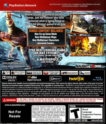 Uncharted 2: Among Thieves (Game of the Year Edition) (Greatest Hits) PS3 backM (BCUS90641)