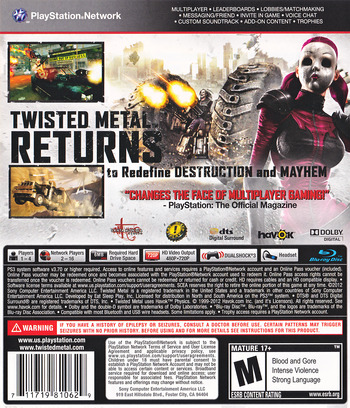 Twisted Metal PS3 backM (BCUS98106)