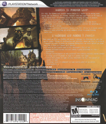 Resistance 2 PS3 backM (BCUS98120)
