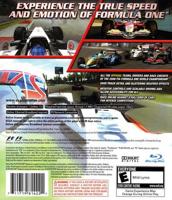 Formula One: Championship Edition PS3 backM (BCUS98142)