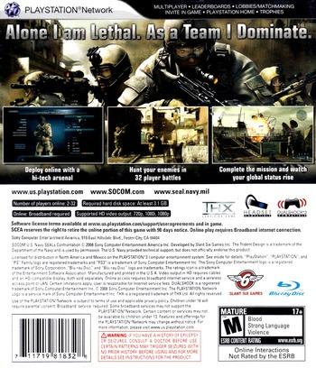 SOCOM: U.S. Navy SEALs - Confrontation PS3 backM (BCUS98152)