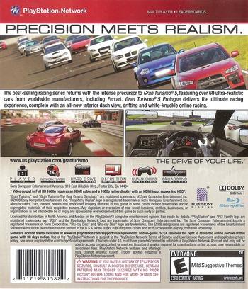 Gran Turismo 5: Prologue PS3 backM (BCUS98158)