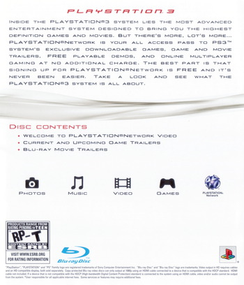 Welcome to PlayStation Network and PlayStation 3 80GB Array backM (BCUS98182)