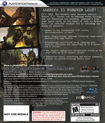Resistance 2 (Collector's Edition) PS3 backM (BCUS98190)