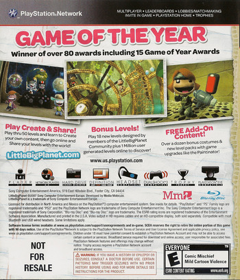 LittleBigPlanet (Game of the Year Edition) Array backM (BCUS98208)