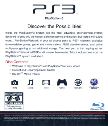 Welcome to PlayStation Network and PlayStation 3 Slim PS3 backM (BCUS98213)